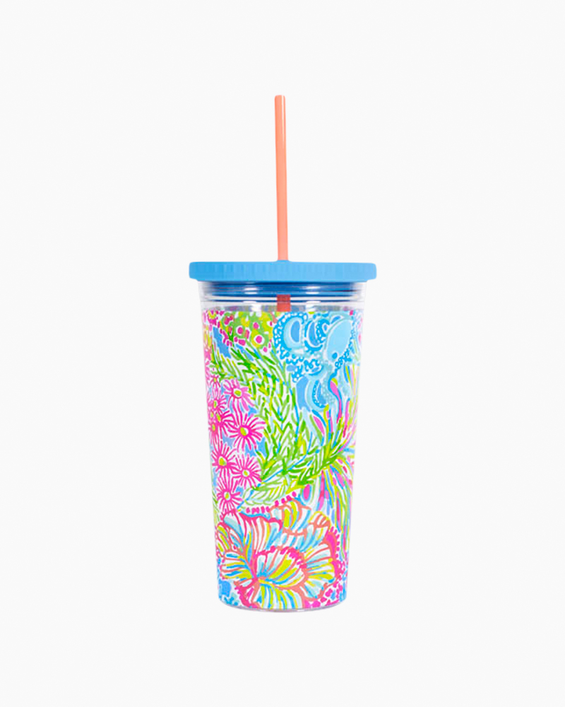 Lilly Pulitzer Tumbler with Straw in Lovers Coral