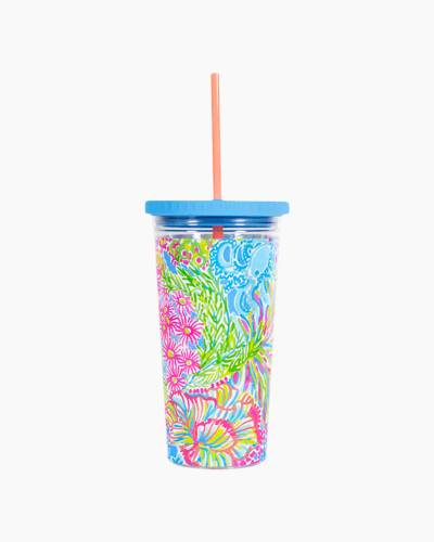 Tumbler with Straw in Lovers Coral