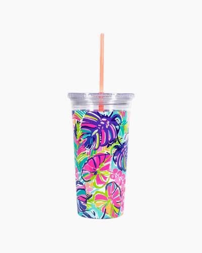 Tumbler with Straw in Exotic Garden