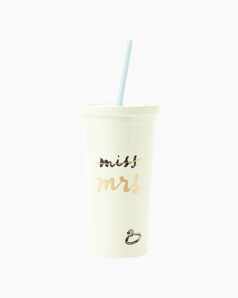 Kate Spade New York Tumbler with Straw in Miss to Mrs.