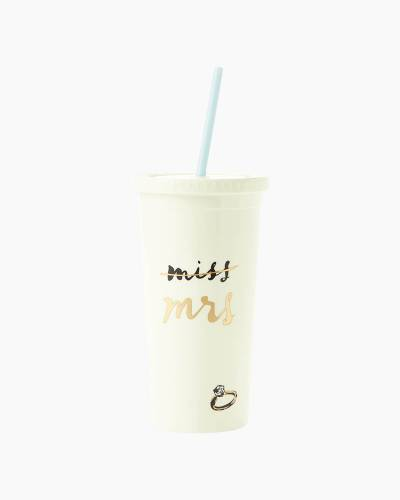 Tumbler with Straw in Miss to Mrs.