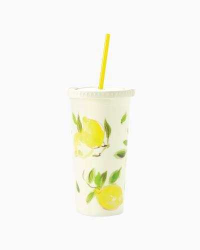Lemon Tumbler with Straw