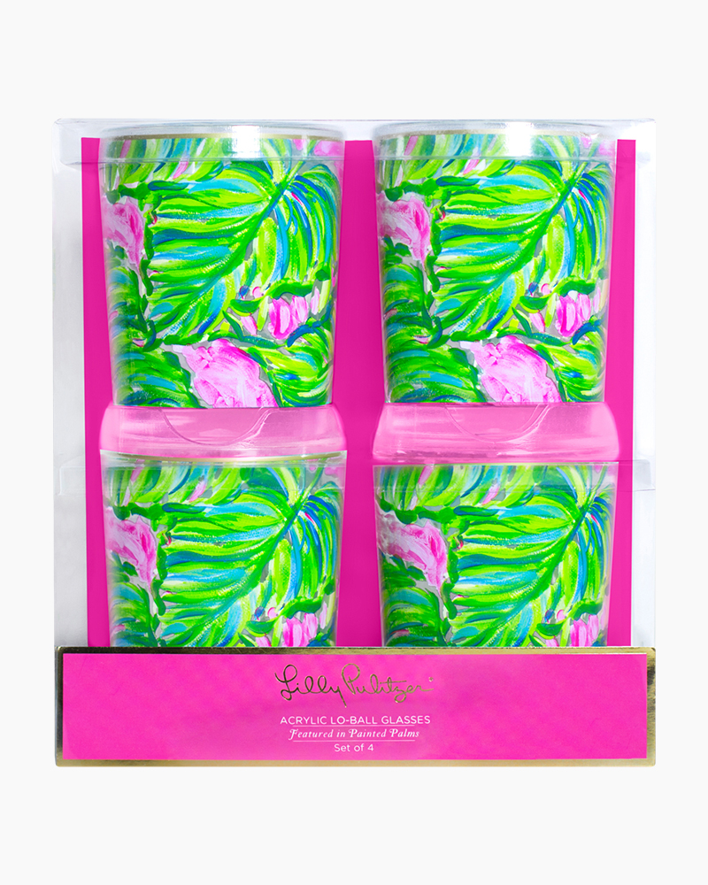 Lilly Pulitzer Acrylic Lo-Ball Glass Set in Painted Palm