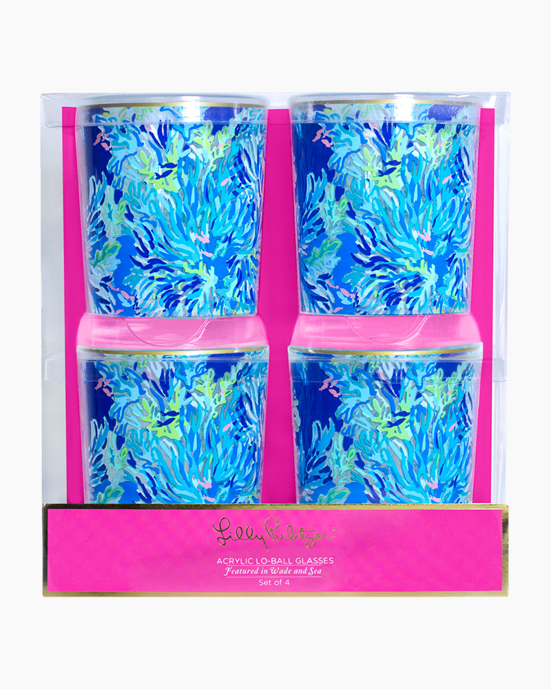Lilly Pulitzer Acrylic Lo-Ball Glass Set in Wade and Sea