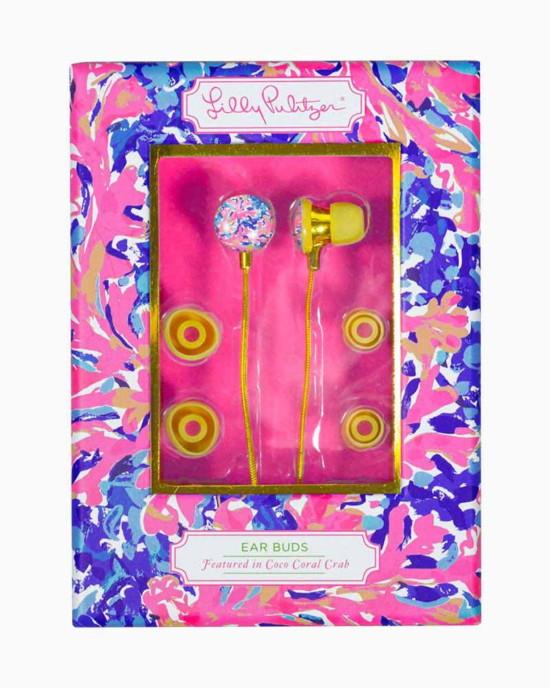 Lilly Pulitzer Ear Bud Headphones in Coco Coral Crab