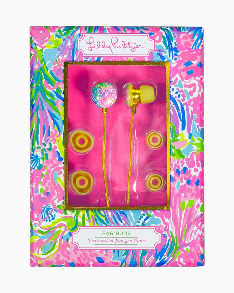 Lilly Pulitzer Ear Bud Headphones in Fan Sea Pants