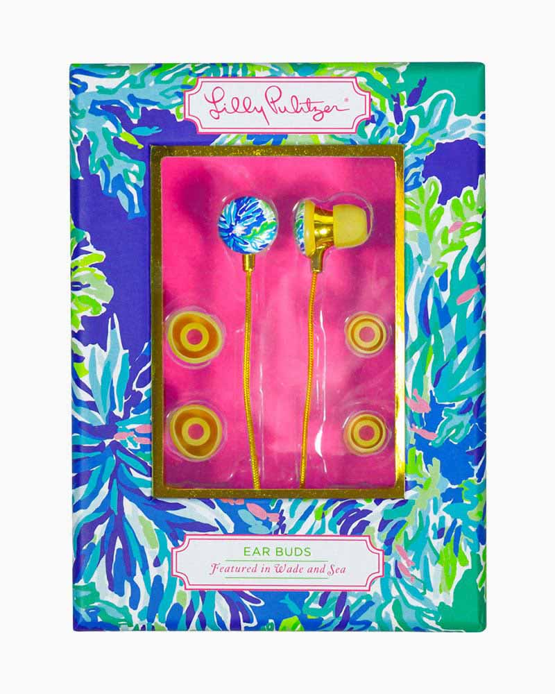 Lilly Pulitzer Ear Bud Headphones in Wade and Sea