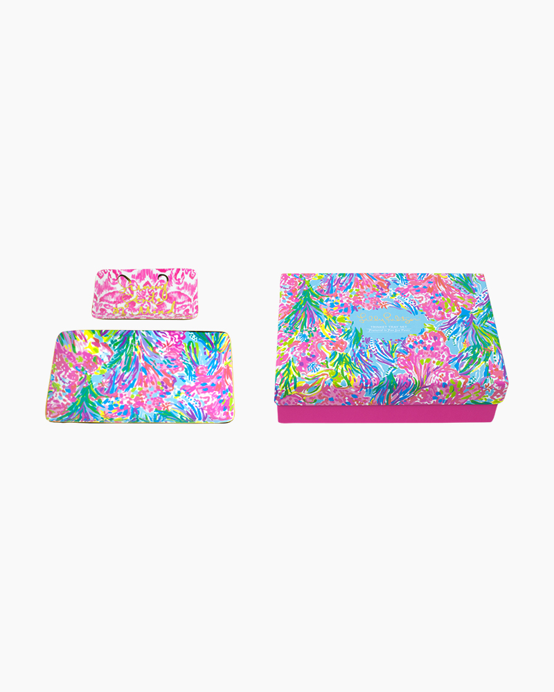 Lilly Pulitzer Trinket Tray Set in Fan Sea Pants