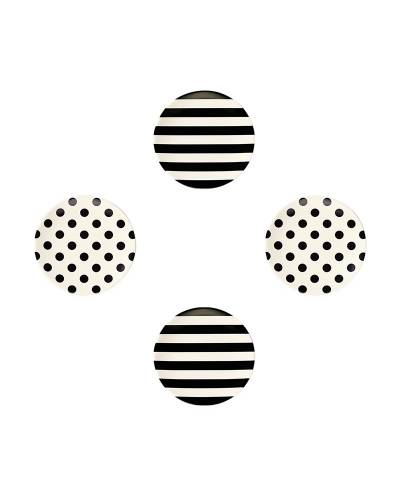Black Stripes and Dots Tidbit Plate Set
