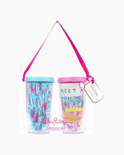 Meet Me at the Beach and Red Right Return Insulated Tumbler with Lid Set