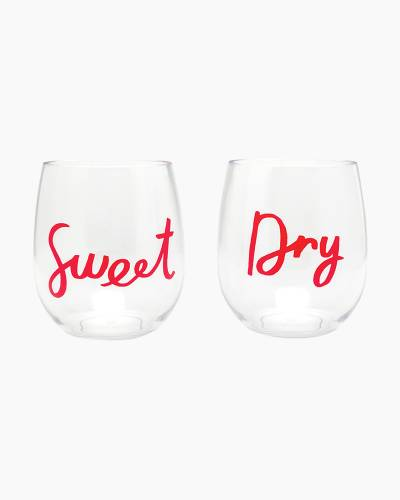 Sweet and Dry Acrylic Stemless Wine Glass Set