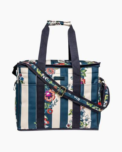 Insulated Cooler Bag in Midnight Floral Stripe