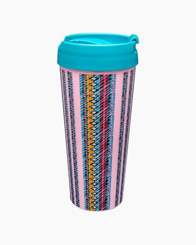 16 oz. Travel Mug in Indio Stripe Pink