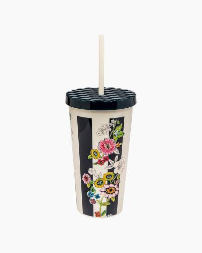 20 oz. Travel Tumbler with Straw in Midnight Floral Stripe