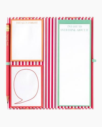 Sticky Note Pad Slim Book in Coral Serape Stripe