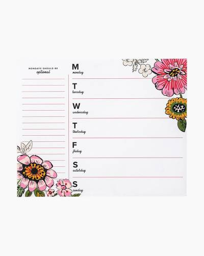 Weekly To-Do Notepad in Coral Floral White