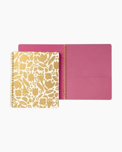 Large Spiral Notebook in Golden Floral