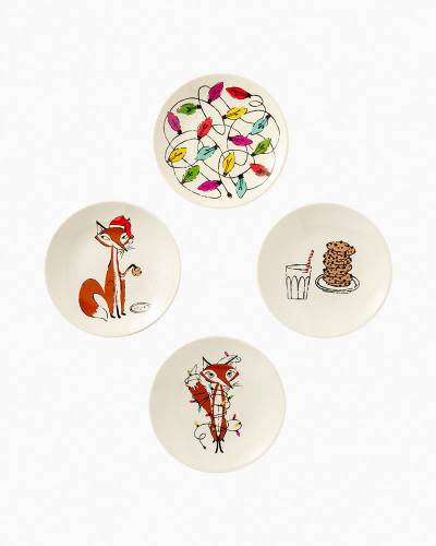 Festive Foxes Melamine Tidbit Plates