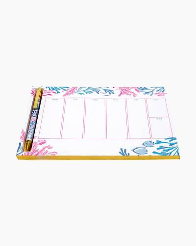 Kaleidoscope Coral Weekly Desk Pad and Pen