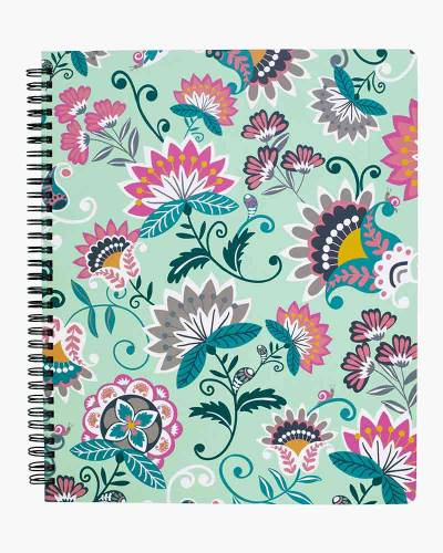Mint Flowers Mini Notebook with Pocket