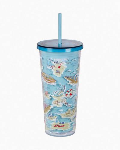Exclusive Double Walled Tumbler with Straw in Beach Toile