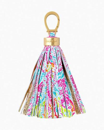 Let's Cha Cha Printed Leather Tassel Keychain