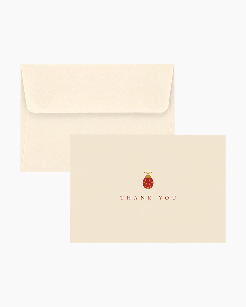 Graphique de France Box of 10 Thank You Cards Ladybug