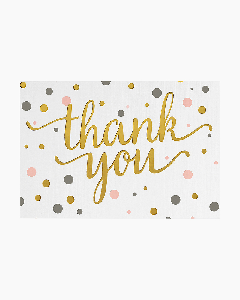 Peter Pauper Press Pink and Gold Dots Thank You Notes | The Paper Store