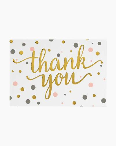 Pink and Gold Dots Thank You Notes