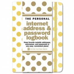 Peter Pauper Press Gold Dots Internet Address and Password Log Book