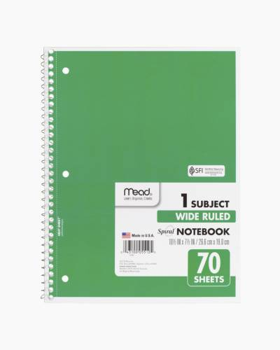 One Subject Wide Ruled Notebook in Green
