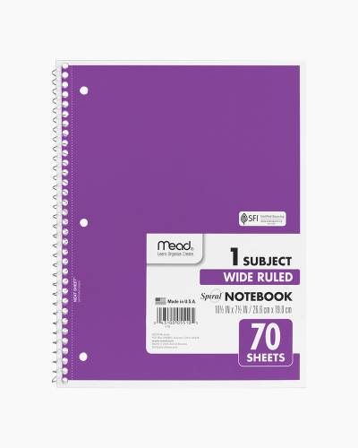 One Subject Wide Ruled Notebook in Purple