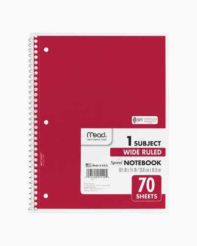 One Subject Wide Ruled Notebook in Red