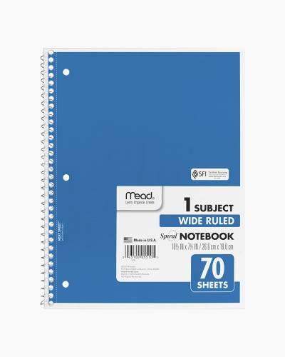 One Subject Wide Ruled Notebook in Blue