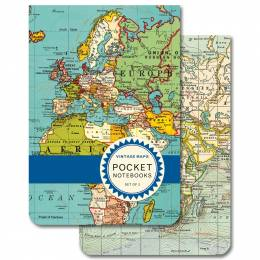 Cavallini and Co. Vintage Maps Pocket Notebooks (Set of 2)