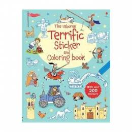 Usborne Terrific Sticker Coloring Book (Paperback)