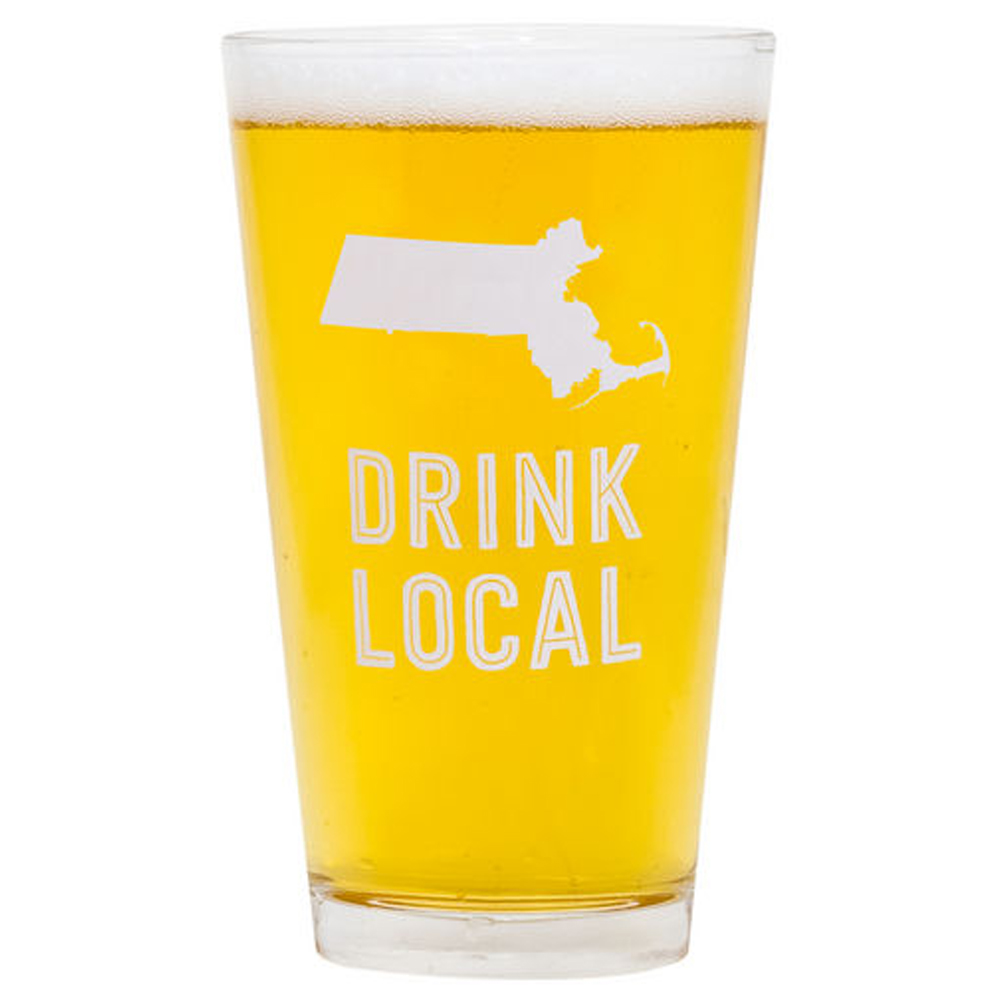 About Face Designs Massachusetts Drink Local Pint Glass