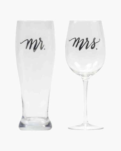 Mr. & Mrs. Wine and Pilsner Glass Set