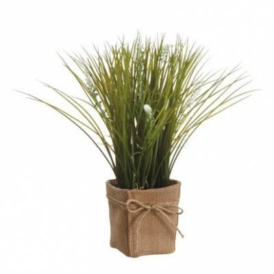 Cream Grass & Lavender Silk Pot Plant