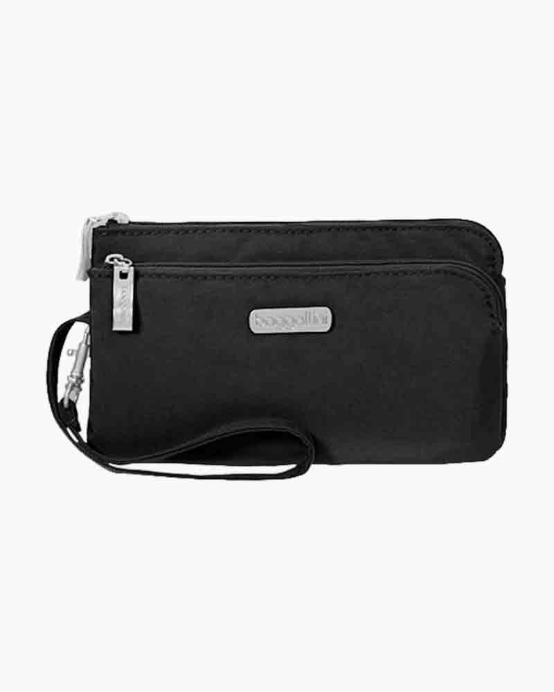 baggallini RFID Double Zip Wristlet in Black