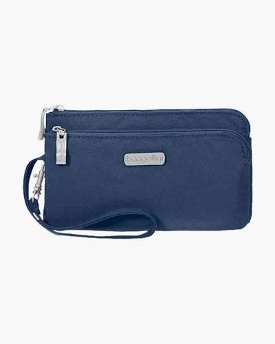 RFID Double Zip Wristlet in Pacific