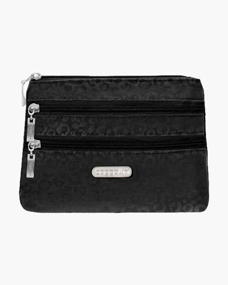 baggallini 3 Zip Cosmetic Case in Black Cheetah