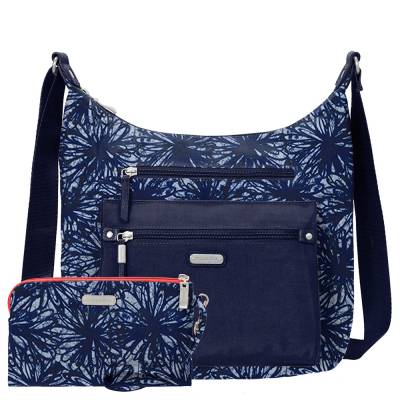 Day Trip Hobo Bag with RFID Phone Wristlet in Indigo Floral