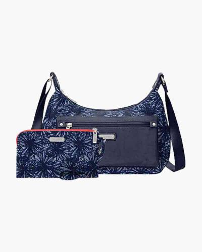 Out and About Bagg with RFID Phone Wristlet in Indigo Floral