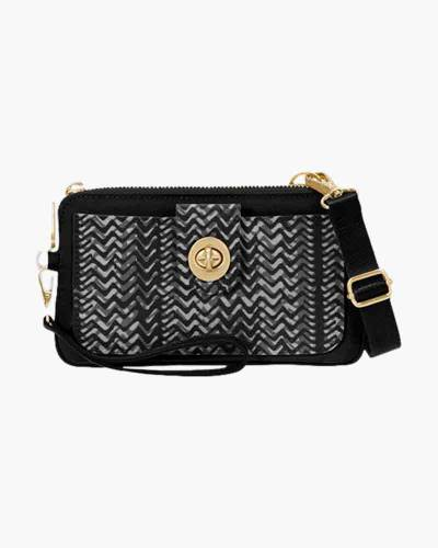 RFID Lisbon Wristlet in Black and White Illusion