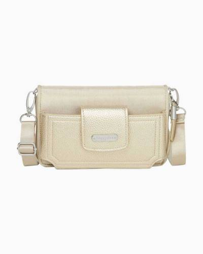 RFID Phone Wallet Crossbody in Champagne Shimmer