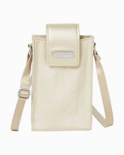 RFID Phone Crossbody in Champagne Shimmer