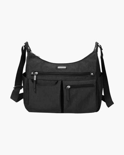 Anywhere Large Hobo Tote with RFID Phone Wristlet in Black