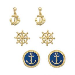 Periwinkle By Barlow Gold and Navy Nautical Earrings Trio
