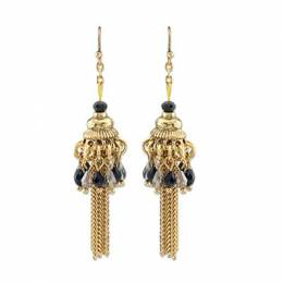 Periwinkle By Barlow Black Beaded Tassel Earrings